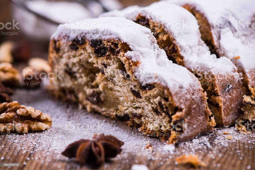 Traditional Christmas stollen cake stock photo