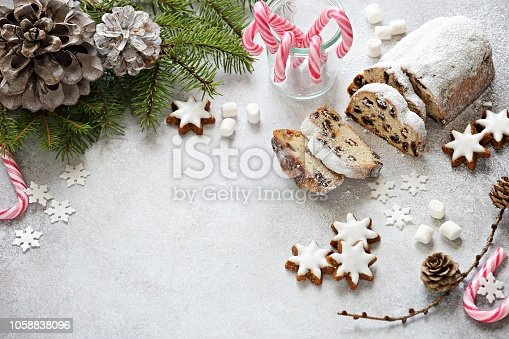 istock Traditional Christmas stollen 1058838096