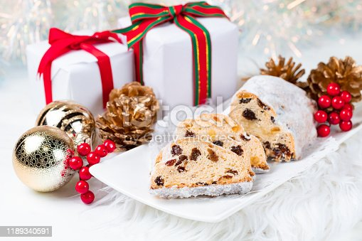 Christmas Stollen. Traditional German, European Festive Dessert.