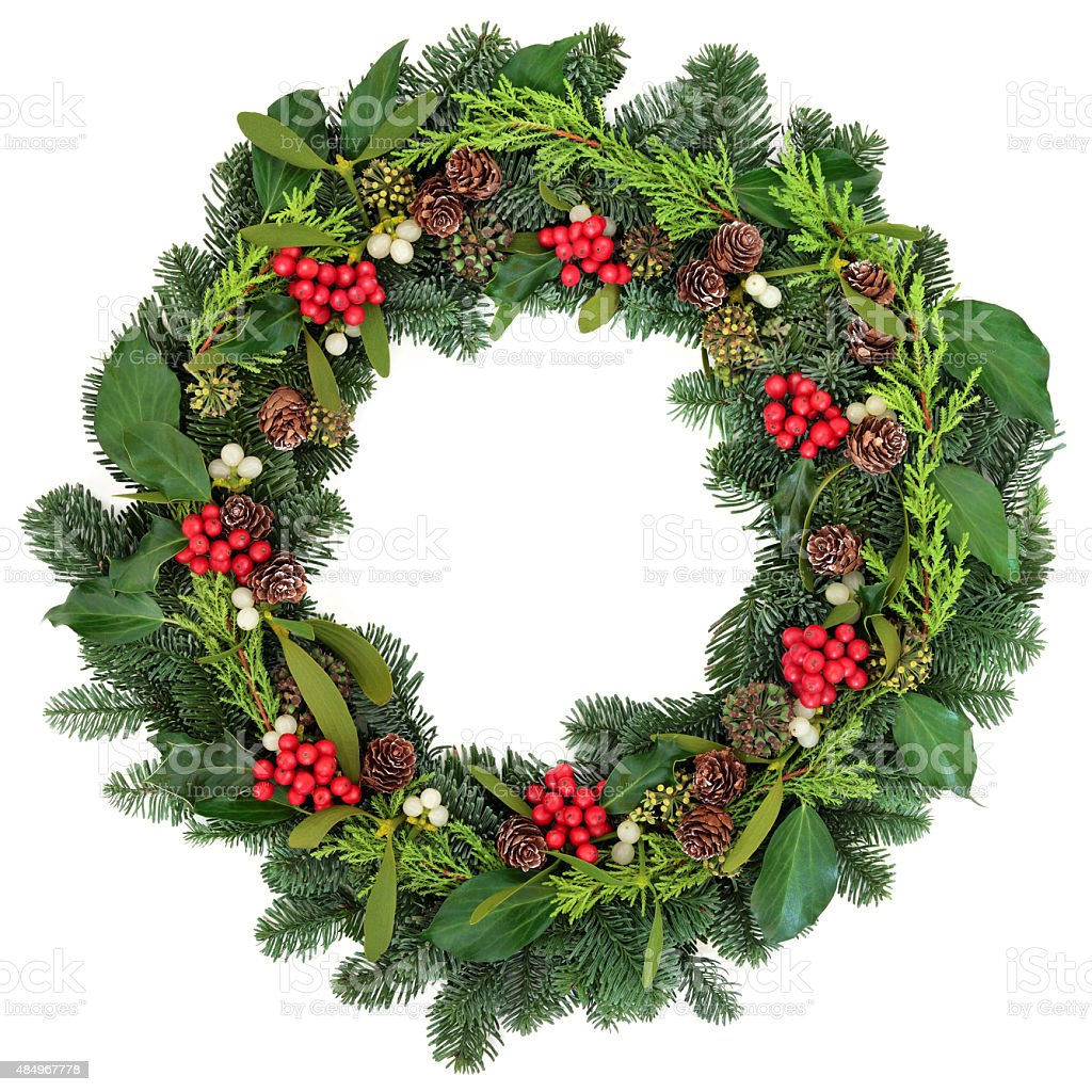 Traditional Christmas Wreath bildbanksfoto