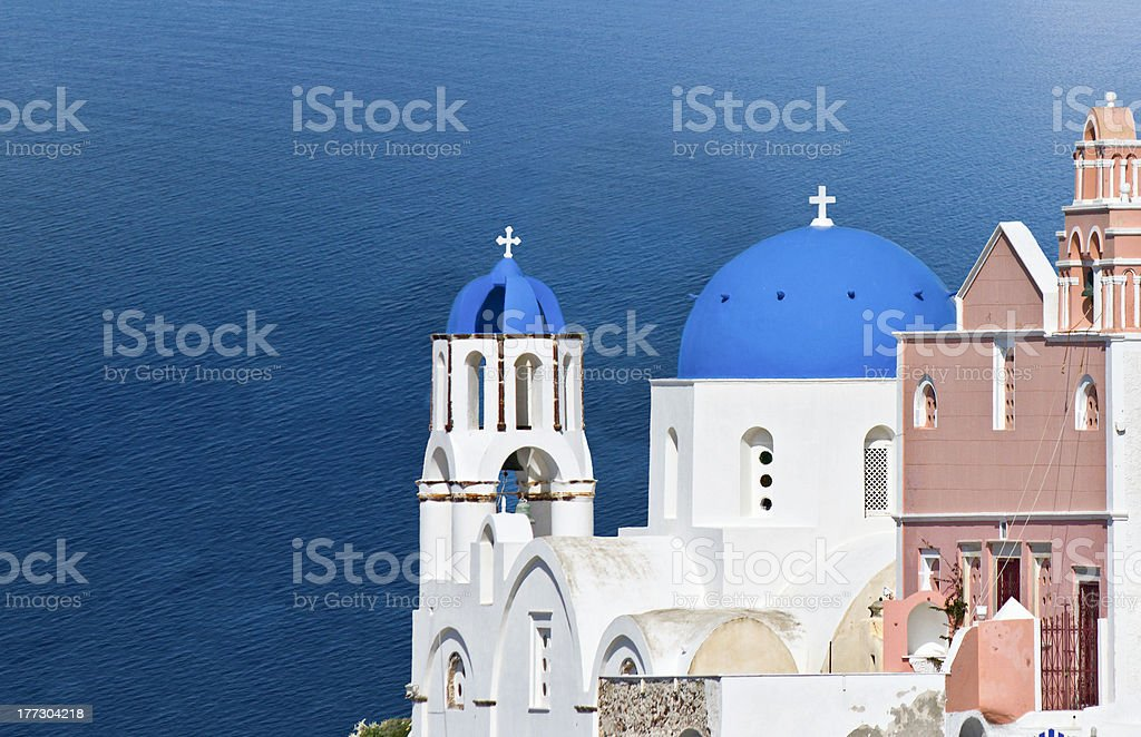 Traditional church at Santorini island stock photo