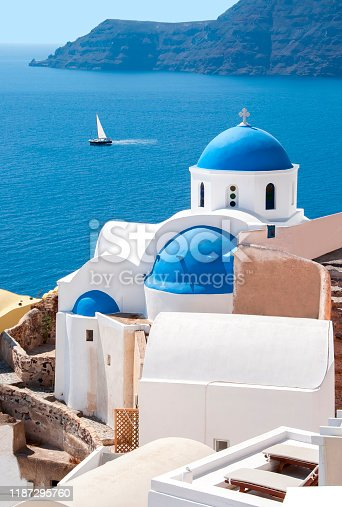 istock Traditional church in Oia village, Santorini island, Greece 1187295760