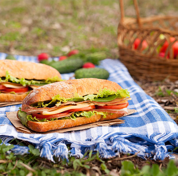 Traditional ciabatta sandwich lifestyle picnic lunch with vegetables and bacon stock photo