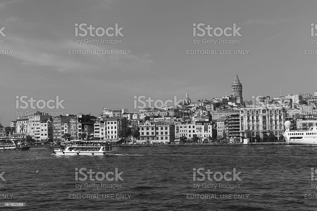Traditional cityview at european side of Istanbul Bosphorus Turkey royalty-free stock photo