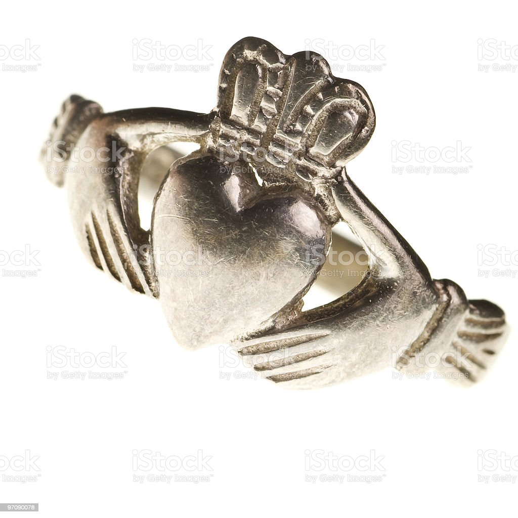 traditional Claddagh ring isolated stock photo