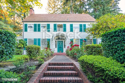 Traditional clapboard house in the Washington Park area of Portland Oregon USA