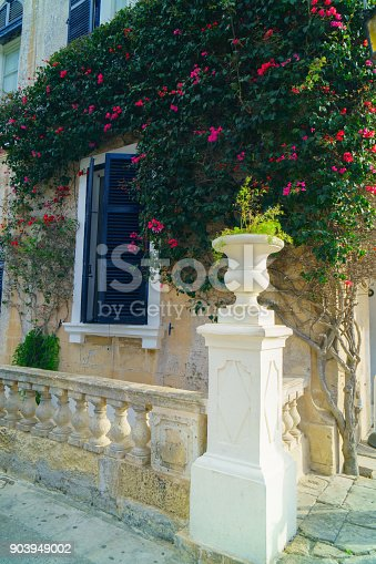 istock Traditional classic style wooden medieval vintage facade and dark blue painted windows in Mdina,Malta. Green plants with flowers near stone wall. Classic english facade. 903949002