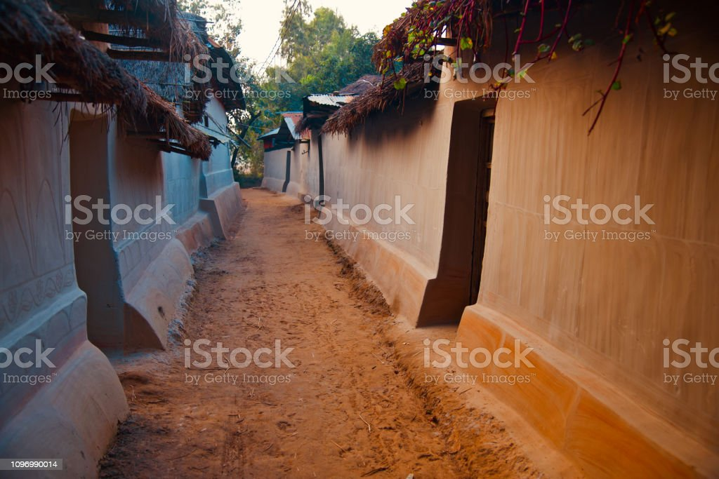 Traditional clay made houses around a village stock photo