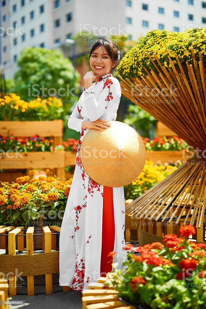 Traditional Clothing. Vietnam. Asian Girl In National Ao Dai Dress stock photo