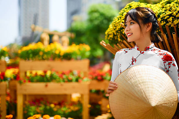 traditional clothing. vietnam. asian girl in national ao dai dress - ao dai stock photos and pictures