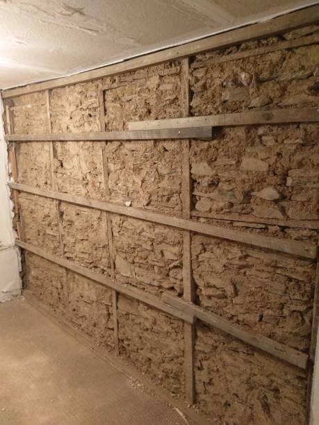 mur traditionnel d'abe dans le chalet de cornouailles des années 1750 - organisme vivant photos et images de collection