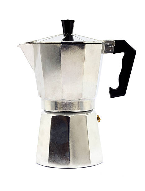 tradizionale macchina per il caffè - argento metallo caffettiera foto e immagini stock