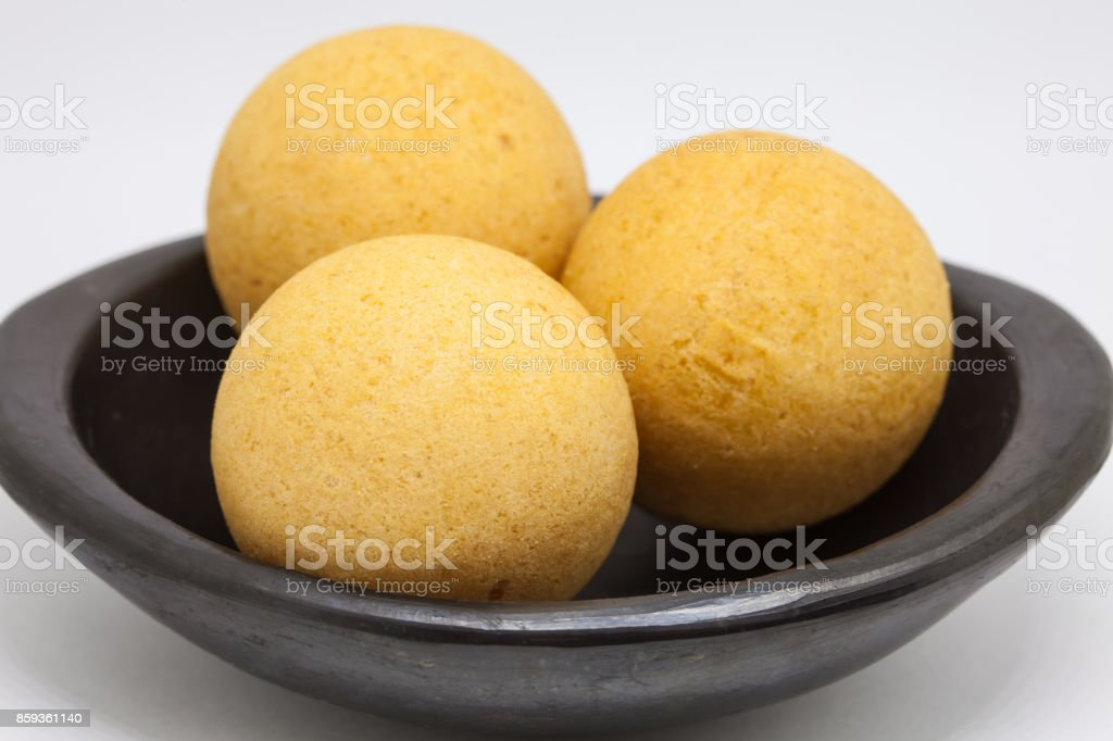 Traditional Colombian buñuelos isolated on white background stock photo