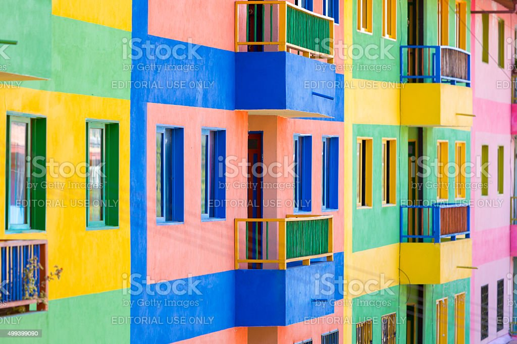 Traditional colorful architecture in the historic square of Guatape stock photo