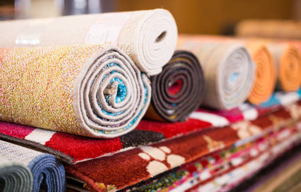 Traditional  colorful carpets in carpet shop, nobody stock photo