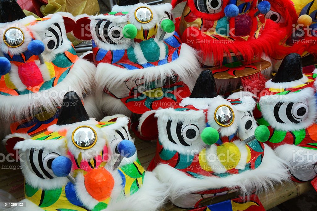 Traditional colorful chinese lion, Chinese paper means stock photo