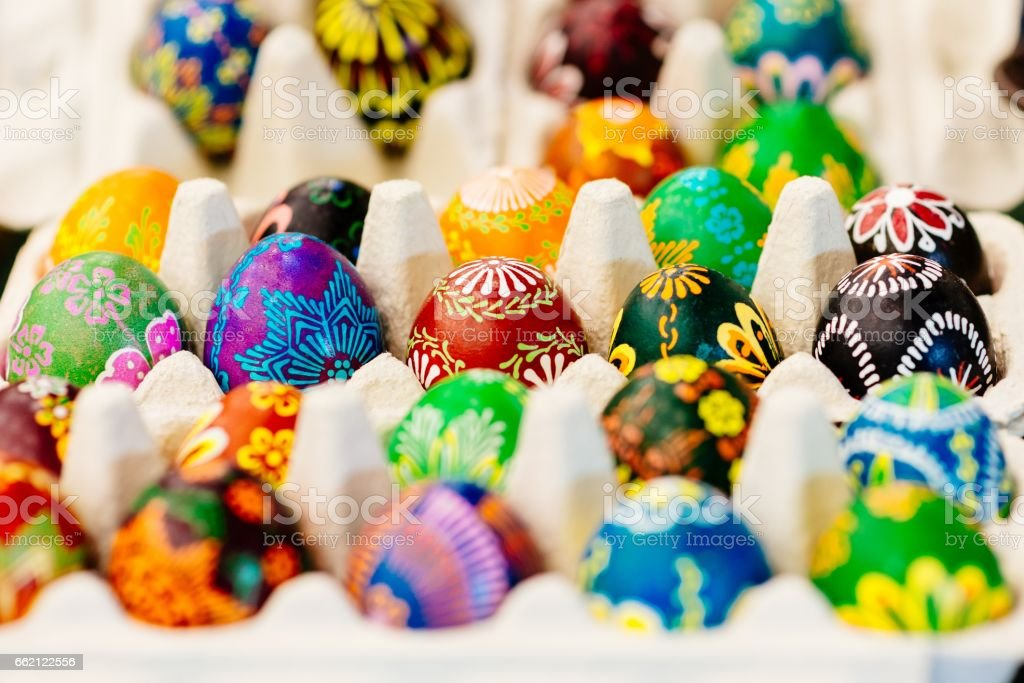 Traditional colorful decorated Easter eggs royalty-free stock photo