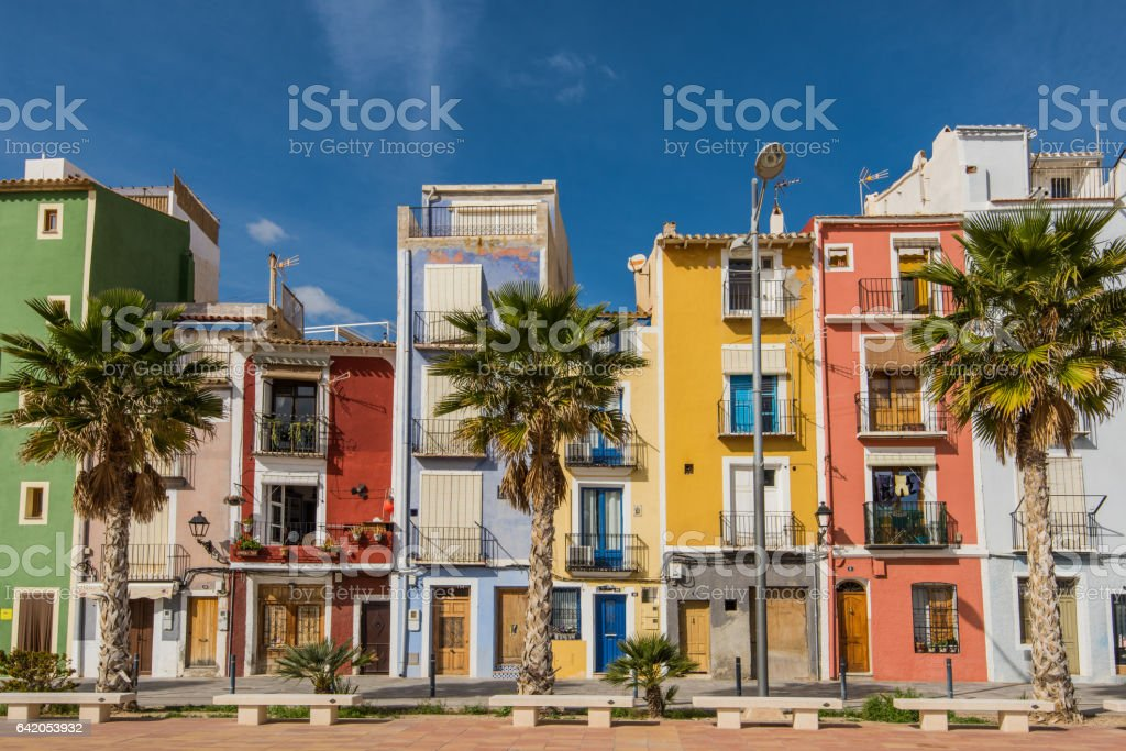 Traditional colorful facades in Villajoyosa in Spain stock photo