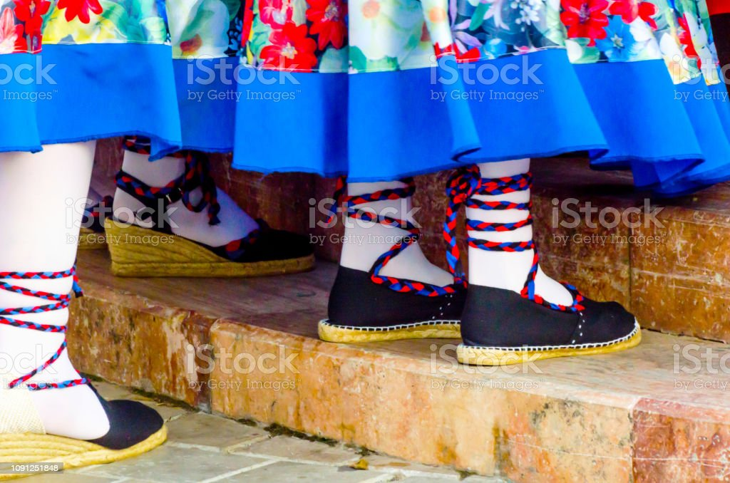 traditional colorful shoes for folk costumes in Spain, dance shoes,...