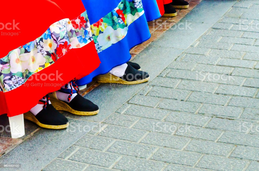 traditional colorful shoes for folk costumes in Spain, dance shoes, - Royalty-free Adult Stock Photo