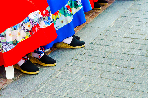Traditional Colorful Shoes For Folk Costumes In Spain Dance Shoes Stock Photo - Download Image Now