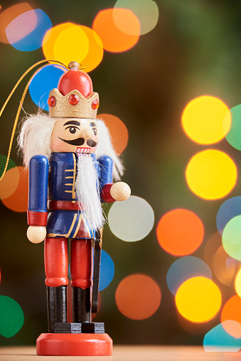 Traditional colorful wooden Christmas nutcracker