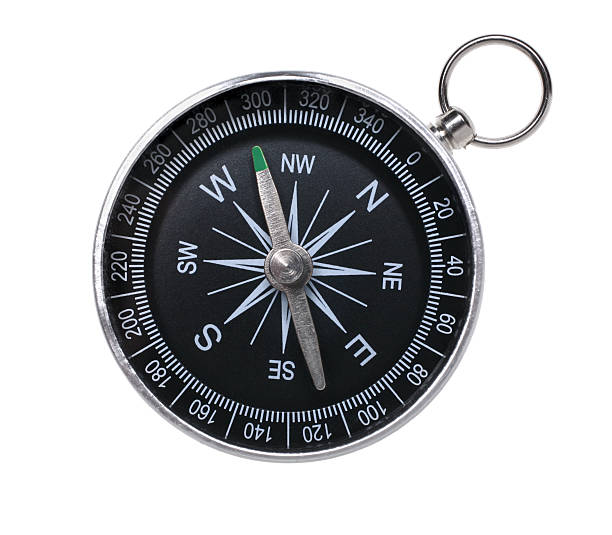 Traditional compass in black on a white background Traditional compass isolated on white background compass stock pictures, royalty-free photos & images