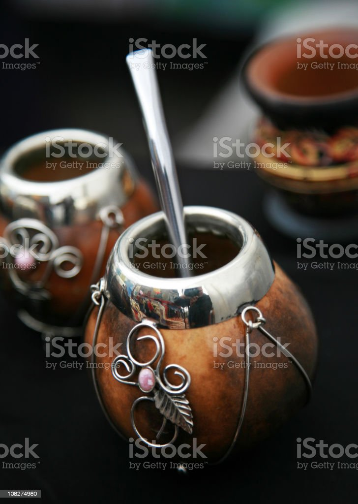 Traditional Container and Straw for Yerba Mate Drink royalty-free stock photo