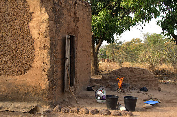 traditional cooking place in Burkina Faso stock photo