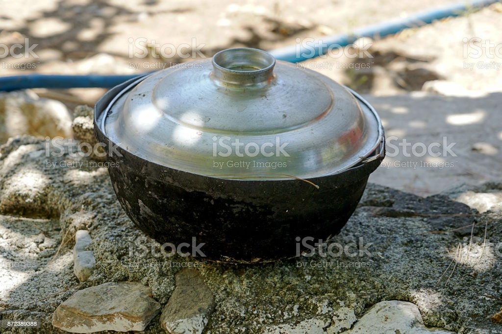 Traditional cooking pot Turkey stock photo