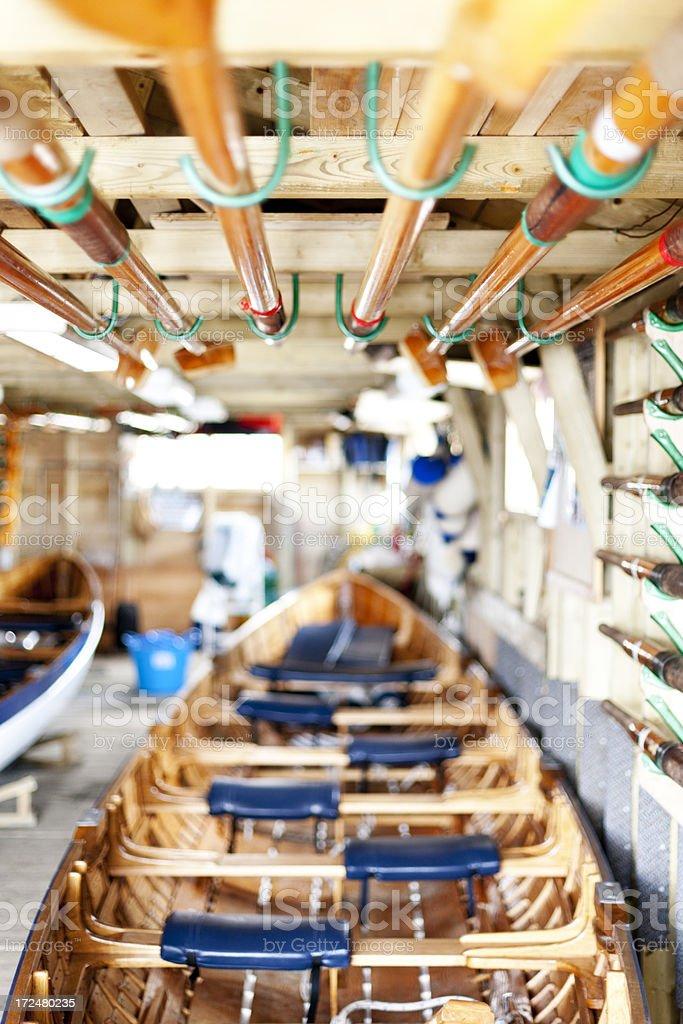 Traditional Cornish pilot gig boat stock photo