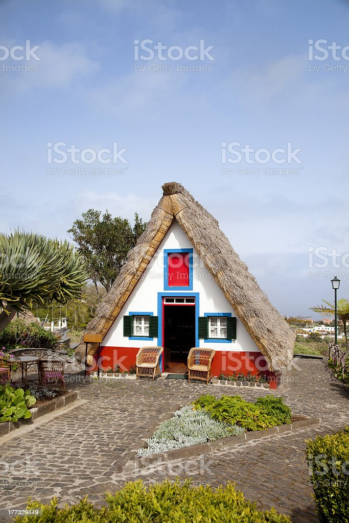 Traditional cottage in Santana, Madeira island, Portugal stock photo