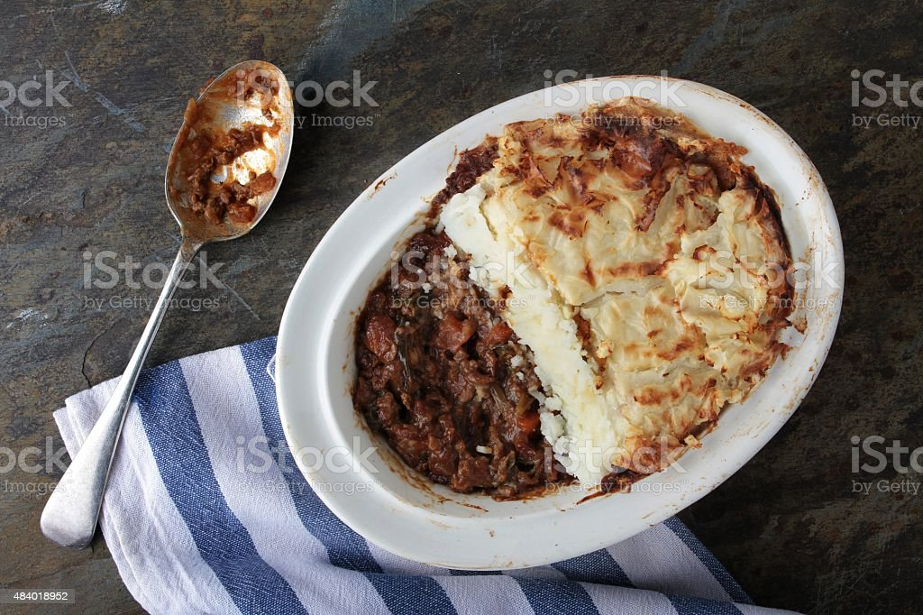 traditional cottage pie in dish stock photo