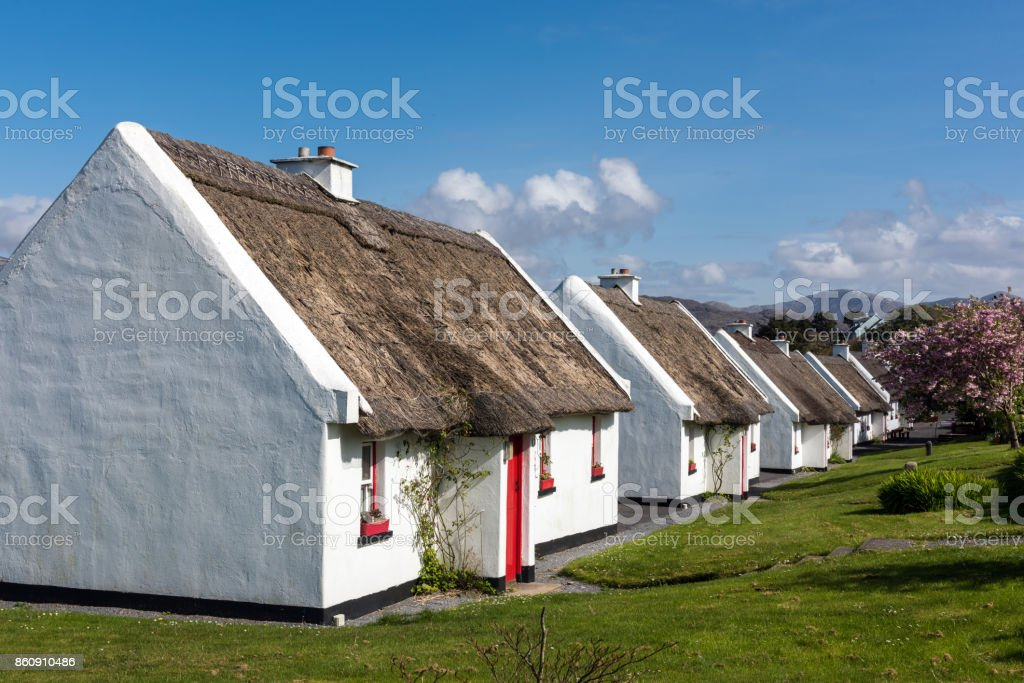Traditional cottages with thatched roof in Galway, Ireland stock photo