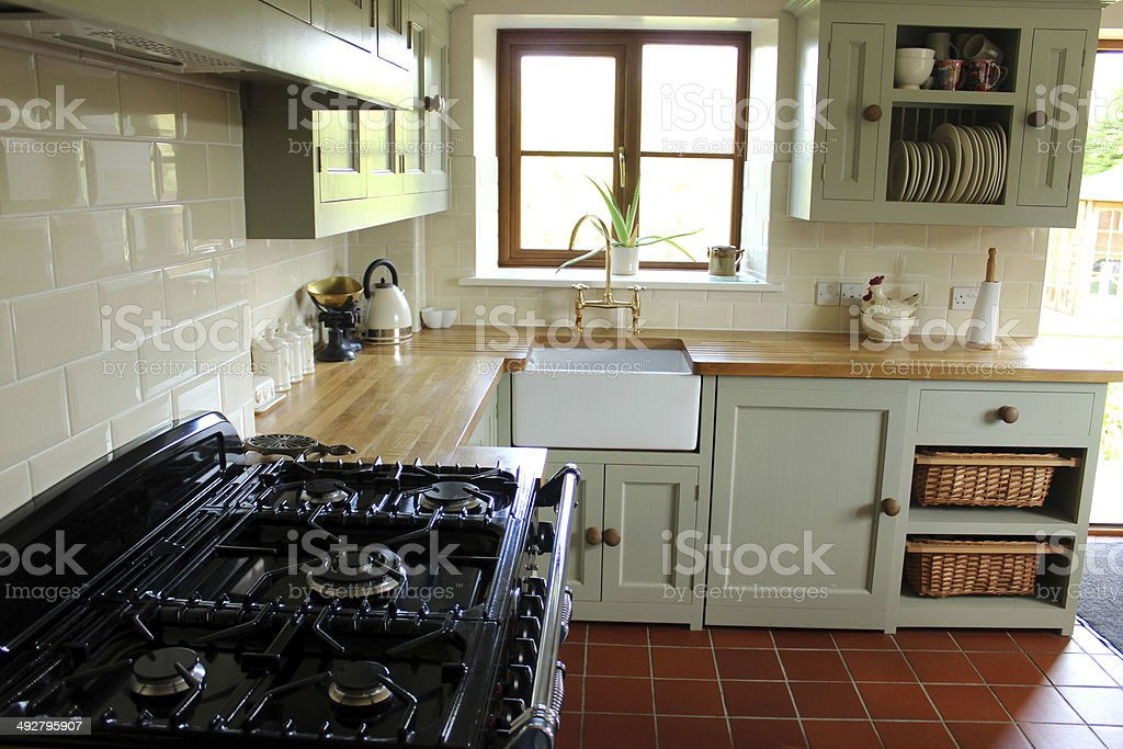 traditional country kitchen gas range cooker belfast sink wooden worktops royalty free - Traditional Country Kitchen