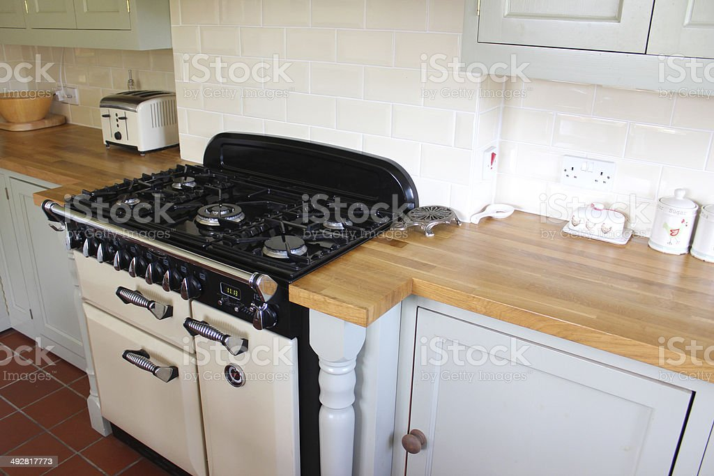 Traditional Country Kitchen, Gas Range Cooker, Wooden Worktops, Duck Egg  Cabinets Royalty