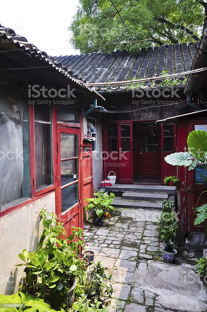 traditional courtyard in a beijing hutong stock photo