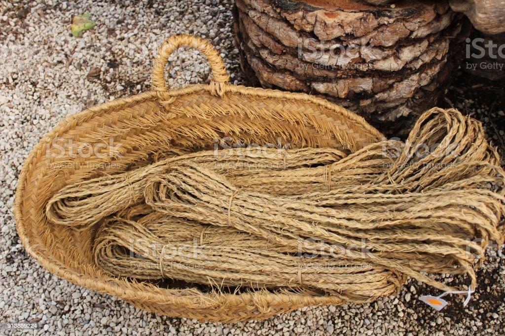 Traditional craft hemp baskets in Elche, Spain