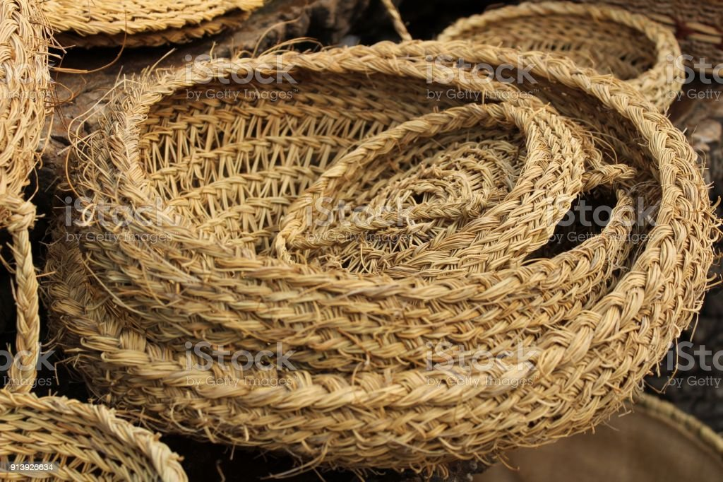 Traditional craft hemp baskets in Elche, Spain