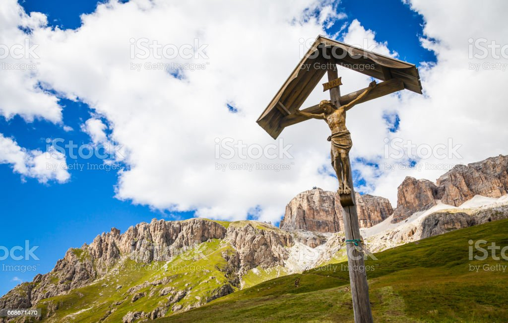 Traditional Crufix in Dolomiti Region - Italy stock photo