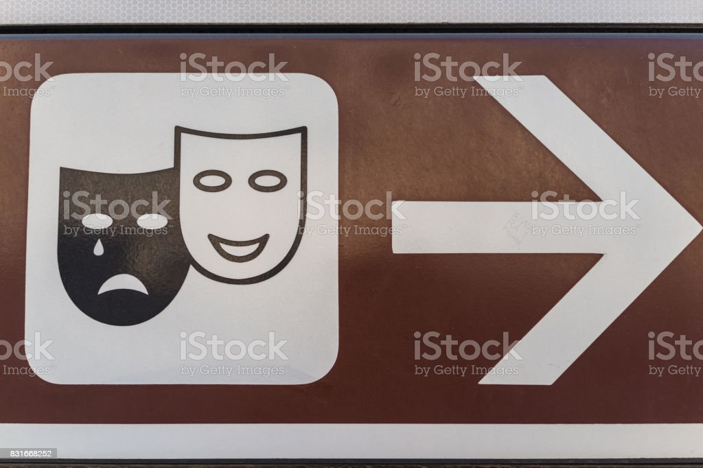 Traditional crying and laughing face as theatre or broadway sign in Italy stock photo