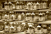 Traditiona cups and teapots on traditional trays which is special to Turkish culture in grand bazaar.