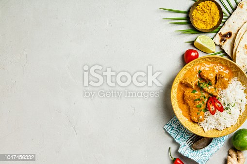 istock Traditional curry, flat lay 1047456332