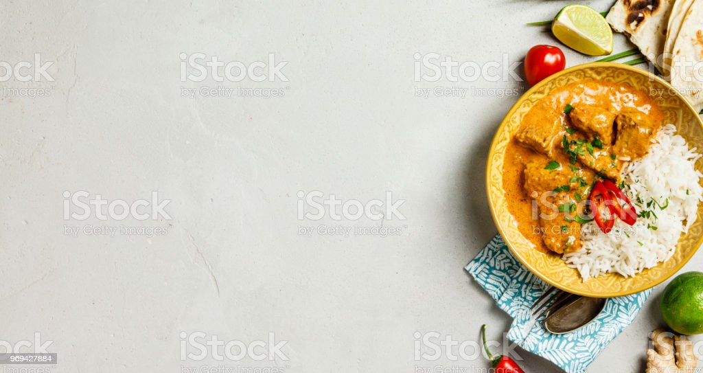 Traditional curry on concrete background stock photo