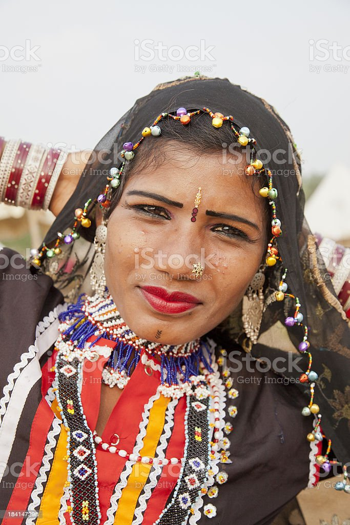 Traditional dancer near Rajasthan India stock photo