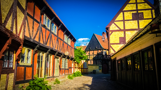 Traditional Danish houses at Den Gamle By in Aarhus, Denmark