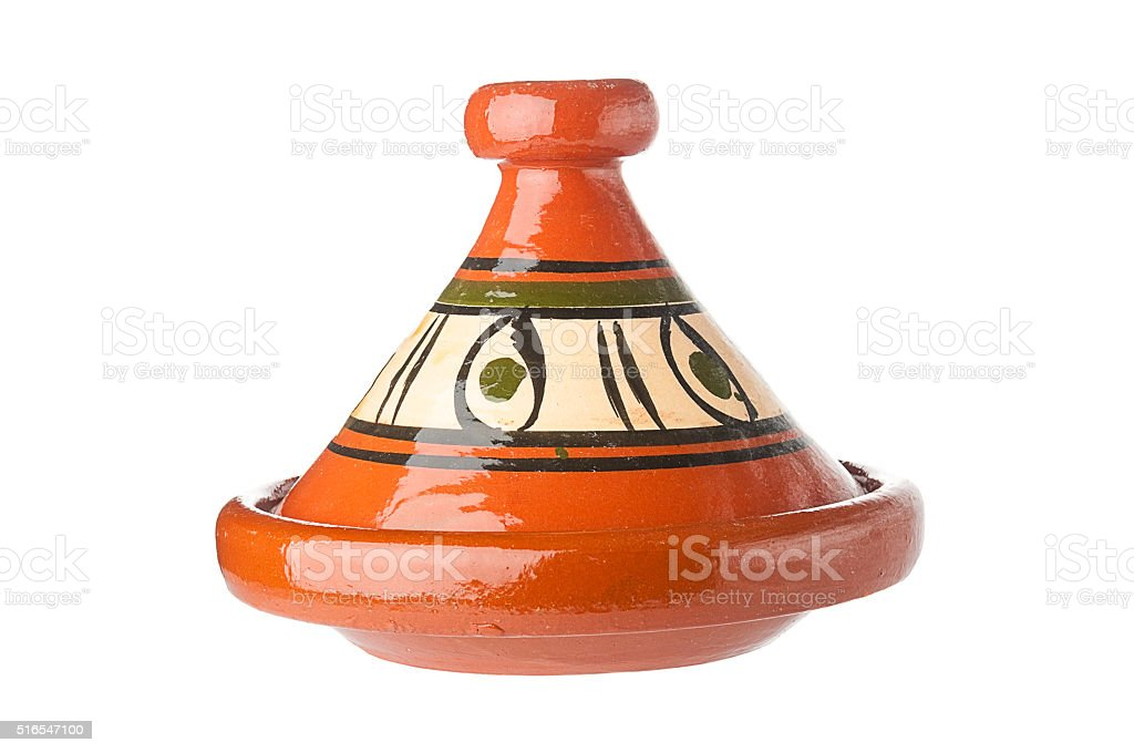Traditional decorated Moroccan tagine on white background stock photo