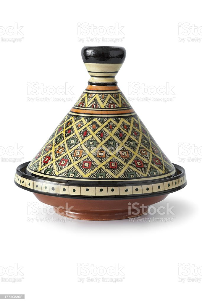 Traditional decorated Moroccan tagine stock photo