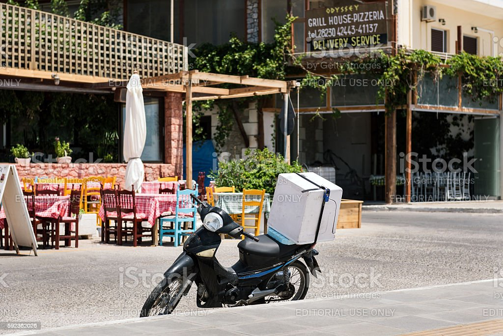 Traditional delivery transport in Paleochora town on Crete island stock photo