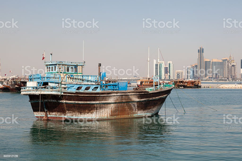 Traditional dhow in Doha, Qatar stock photo